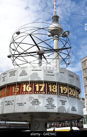 World clock -  watch  Alexanderplatz Alexander Square Berlin Germany German Fernsehturm TV Television Tower - Stock Photo