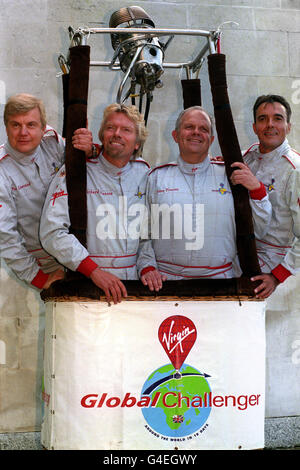 The Virgin Global Challenger team (l/r) Per Lindstrand, Virgin boss Richard Branson, Steve Fossett and Dave Jackson, during today's (Thursday) news conference at the Royal Aeronautical Society in London, where Branson announced his decision to make another attempt to become the first to fly around the world in a hot air balloon, with former arch-rival Steve Fossett joining their team. See PA Story ADVENTURE Branson. Photo by John Stillwell.