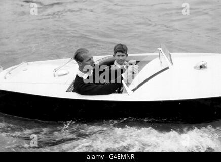 Royalty - Duke of Edinburgh and Prince Charles - Cowes, Isle of Wight - Stock Photo