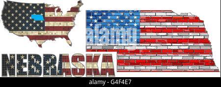 USA state of Nebraska on a brick wall - Stock Photo