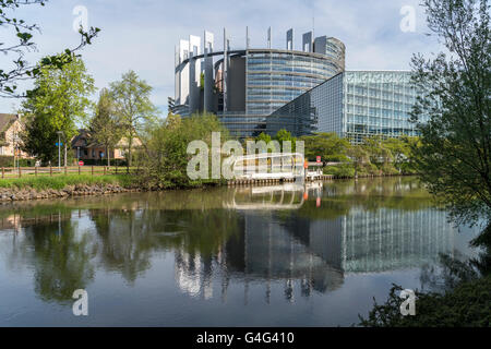 European Parliament building in Strasbourg,  Alsace, France - Stock Photo