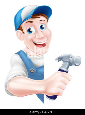 A cartoon man in a cap hat and blue dungarees holding a claw hammer tool peeking around a sign - Stock Photo