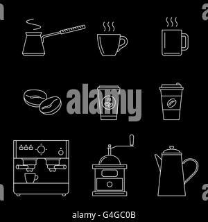 Coffee line icons - Stock Photo