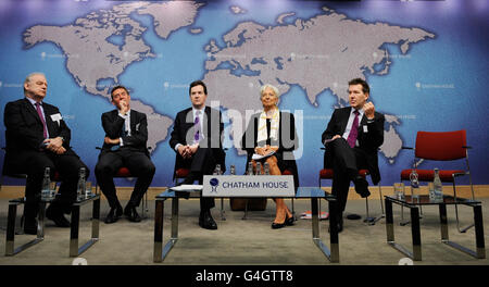 Challenges for the Global Economy press conference - Stock Photo