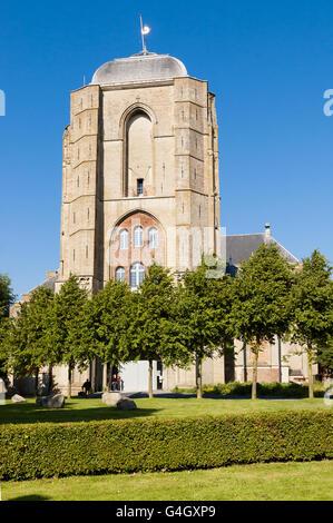 Front of Big Church, Grote Kerk, in the city of Veere in Zeeland, Netherlands - Stock Photo