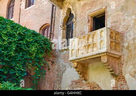Romeo and Juliet balcony, Verona old town, Veneto region, Italy - Stock Photo