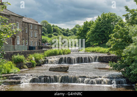 The cascades at Gayle, Wensleydale, in the Yorkshire Dales National Park,  on Gayle Beck, near Hawes in Wensleydale - Stock Photo
