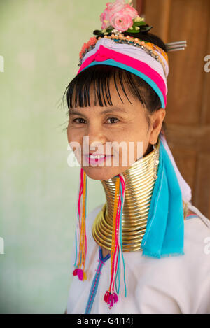 Portrait of a Kayan Lahwi (Padaung) woman with brass coils rings on her neck, Panpet village, Kayah State, Myanmar