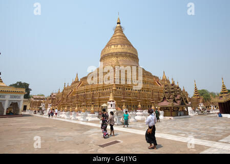 Shwezigon Pagoda, Nyanung-U, Mandalay Region, Myanmar - Stock Photo
