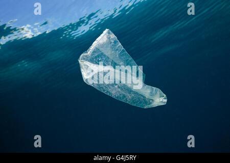 Plastic Bag adrift in Ocean, Indo Pacific, Indonesia - Stock Photo