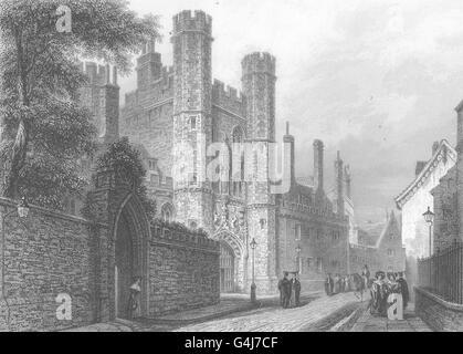 CAMBRIDGE: St. John's College. Entrance Gateway. (Le Keux), old print c1842 - Stock Photo