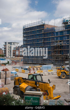 View over building site - Hungate, York, North Yorkshire, England - city centre regeneration and the construction - Stock Photo