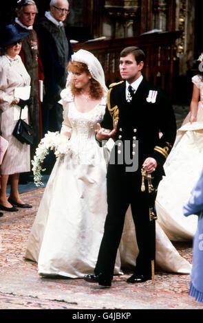 Royalty - Duke and Duchess of York Wedding - Westminster Abbey - Stock Photo