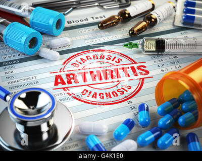 Arthritis diagnosis. Stamp, stethoscope, syringe, blood test and pills on the clipboard with medical report. 3d - Stock Photo