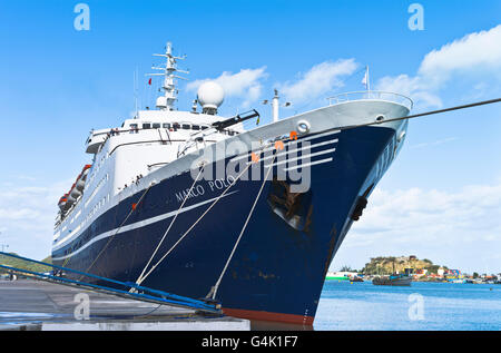 dh  CRUISE SHIPS CARIBBEAN CMV Marco Polo cruise ship bow berthed in St Johns antigua moored - Stock Photo