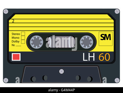 vintage audio tapes - isolated cassette - Stock Photo