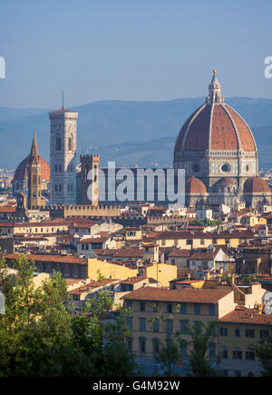 Florence, Tuscany, Italy.  View over the city to the Duomo - Cattedrale di Santa Maria del Fiore - Stock Photo