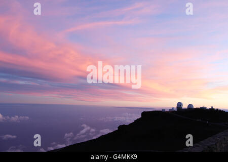 Observatories at sunset on the summit of Haleakala (Haleakala National Park) - Stock Photo