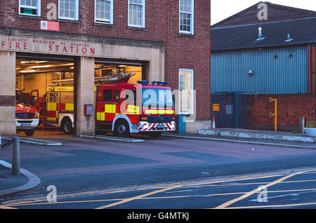 A fire engine being prepared in London - Stock Photo