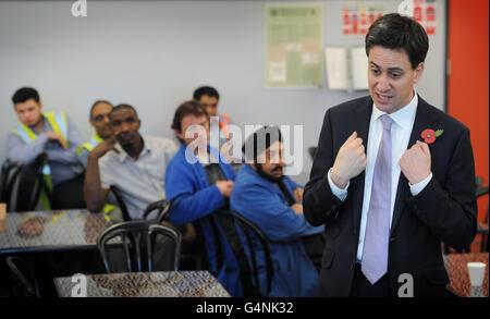 Miliband visit to Stratford - Stock Photo