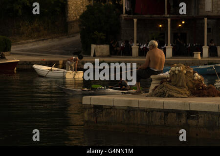 Life in summer at the island of Luvud and Cipan, close to Dubrovnic. - Stock Photo