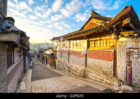 Bukchon the ancient village in Seoul, South Korea. - Stock Photo