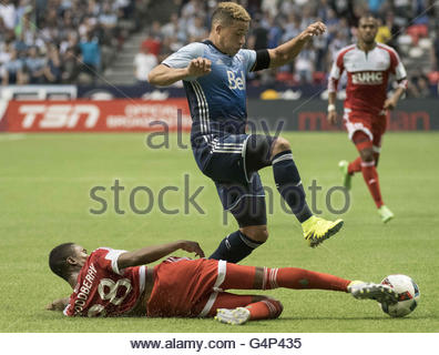 Vancouver, British Columbia, Canada. 18th June, 2016. MLS Soccer - LONDON WOODBURY (#28) of the New England Revolution - Stock Photo