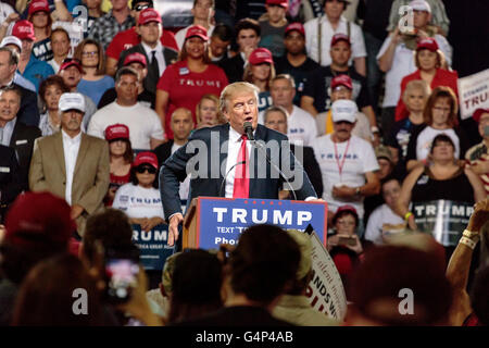 Phoenix, Arizona, USA. 18th June, 2016. Donald J. Trump speaks at a campaign rally at Veterans Memorial Coliseum - Stock Photo