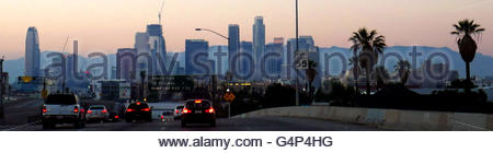 Los Angeles, California, USA. 16th June, 2016. Downtown Los Angeles looking north along the 110 freeway in Los Angeles, - Stock Photo