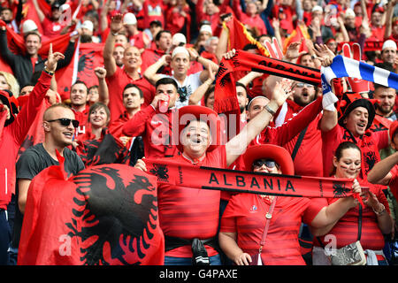 Lyon, France. 19th June, 2016. Supporters of Albania cheer prior the UEFA EURO 2016 Group A soccer match between - Stock Photo