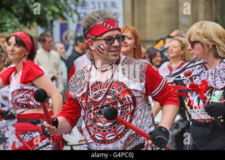 Manchester, UK. 19th June, 2016. Brazilian samba drumming band Batala parade through Manchester, UK,19th June, 2016 - Stock Photo