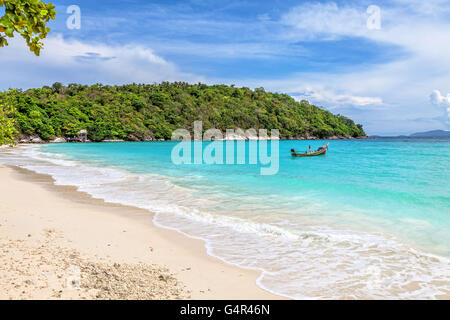 Turquoise waves on the island of Ko Racha Yai. Thai Phuket Province - Stock Photo