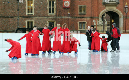 Seventeen Chapel Royal Choirboys aged 8-13 skating at Hampton Court Palace Ice Rink in Kingston.