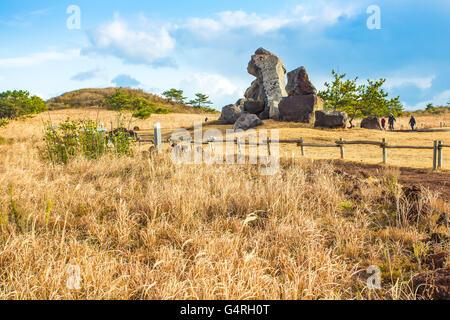 View of Seopjikoji Mountain Jeju Island, South Korea. - Stock Photo