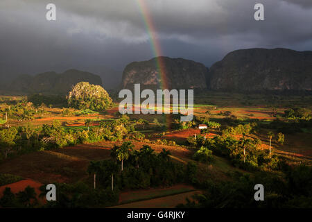 Tobacco growing area, view of the Vinales Valley, in the background karst cones called mogotes, stormy atmosphere, - Stock Photo