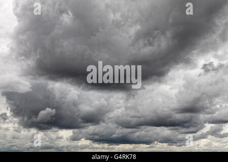 Dramatic cloudy sky with heavy rain clouds, storm clouds in the sky, Nuremberg, Bavaria, Germany - Stock Photo
