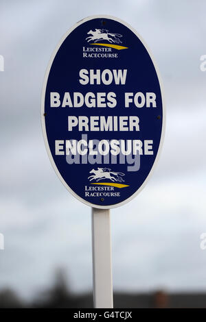General view of a sign for the Premier Enclosure at Leicester Racecourse