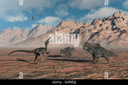 A Lone Velociraptor Contronting A Pair Of Protoceratops Dinosaurs. - Stock Photo
