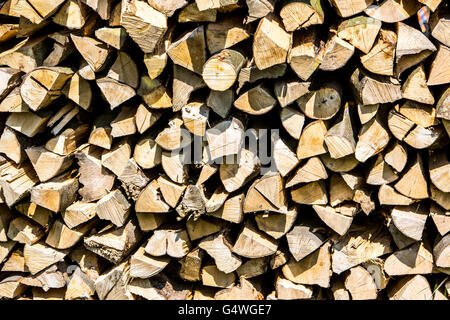 Stacked firewood, logs for burning in the stove or fireplace,