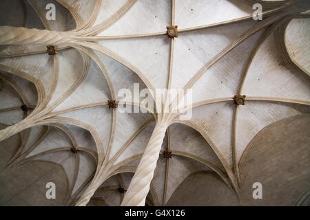 La Llotja gothic vaulted ceiling interior in Palma de Mallorca, Balearic islands, Spain on April 13, 2016. - Stock Photo
