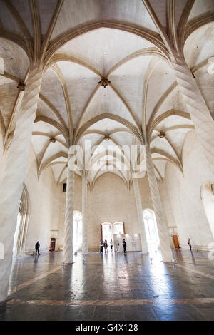 La Llotja gothic interior in Palma de Mallorca, Balearic islands, Spain on April 13, 2016 - Stock Photo
