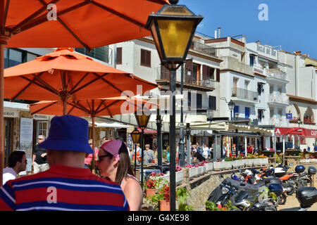 Tourist area with many restaurants in historical center of Tossa de Mar, Spain, on May 24, 2016 - Stock Photo