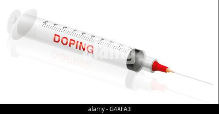 DOPING syringe on white background. - Stock Photo