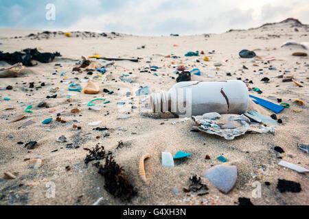 Trash on Beach - South Padre Island, Texas, USA - Stock Photo