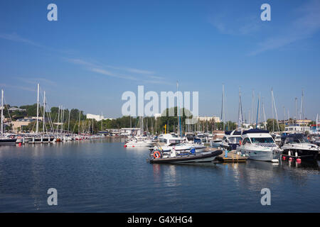 Sail boats and yachts in marina on Baltic Sea in city of Gdynia in Poland - Stock Photo