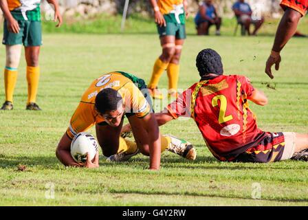 Cook Islands, Aitutaki, Rugby game Aitutaki against Rarotonga - Stock Photo