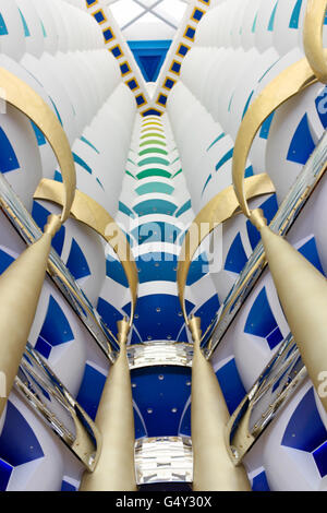 United Arab Emirates, Dubai, Burj el Arab, 7-star hotel, Lobby - Stock Photo