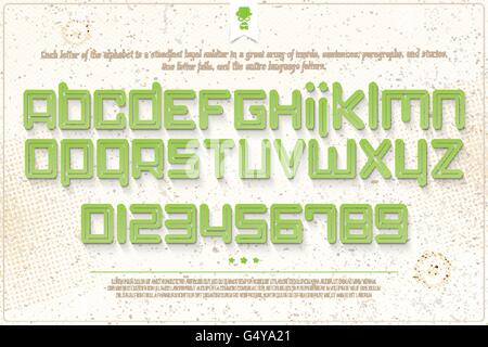 set of green outline alphabet letters and numbers over grunge paper texture. vector font type design. modern, bold - Stock Photo