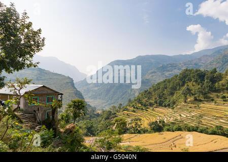 Nepal, Western Region, Bahundanda, On the Annapurna Circuit - Day 1 - From Bhulbhule to Jagat - Bahundanda Panorama - Stock Photo
