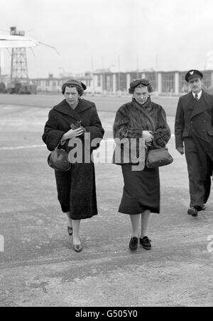 Royalty - Duchess of Kent and Countess Toerring - Northolt Airport - Stock Photo